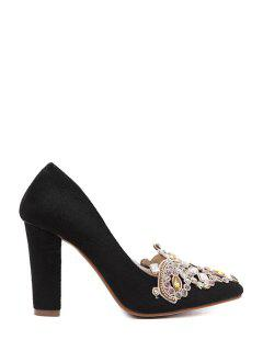 Colorful Rhinestone Chunky Heel Suede Pumps - Black 39