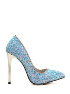 Sequins Solid Color Pointed Toe Pumps - Blue 39