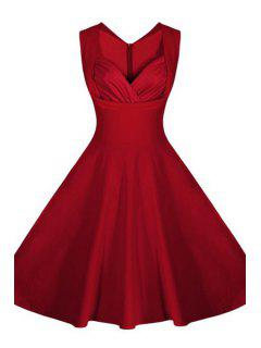 Pure Color V-Neck Sleeveless Flare Dress - Red 2xl