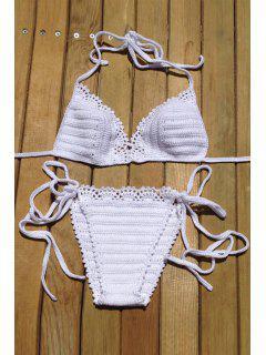 Pure Color Crochet Halter Bikini Set - White