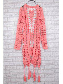 Hollow Out Crochet V Neck Long Sleeve Coat - Pink