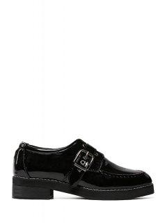 Patent Leather Buckle Black Flat Shoes - Black 38