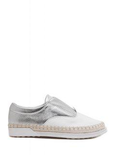 Tissage Chaussures élastique Couleur Bloc Plat - Argent 39