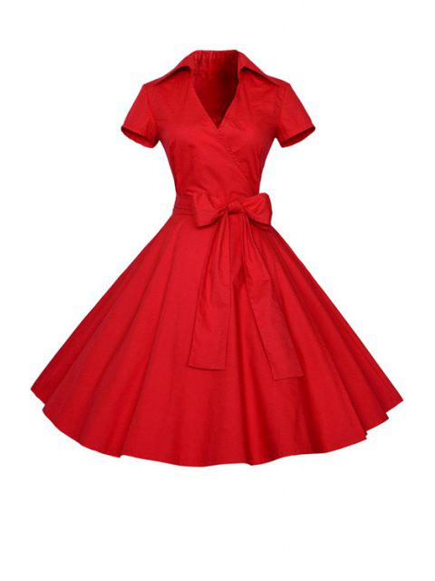 online Solid Color Turn Down Collar Short Sleeve Flare Dress - RED S Mobile