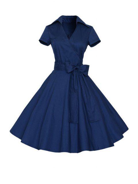women's Solid Color Turn Down Collar Short Sleeve Flare Dress - PURPLISH BLUE M Mobile