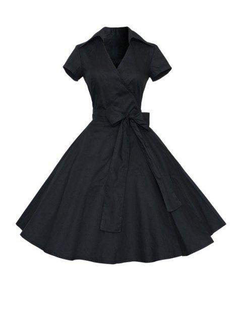 affordable Solid Color Turn Down Collar Short Sleeve Flare Dress -   Mobile