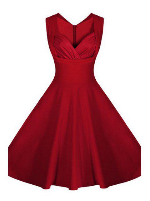 buy Pure Color V-Neck Sleeveless Flare Dress -   Mobile