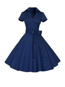 Solid Color Turn Down Collar Short Sleeve Flare Dress - Purplish Blue M