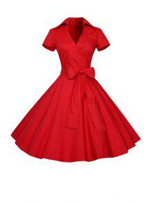 Solid Color Turn Down Collar Short Sleeve Flare Dress - Red S