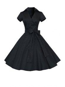 Solid Color Turn Down Collar Short Sleeve Flare Dress - Black M