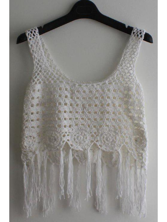 Tassel mangas Crochet Cover-Up - Branco Tamanho Único(Ajusta