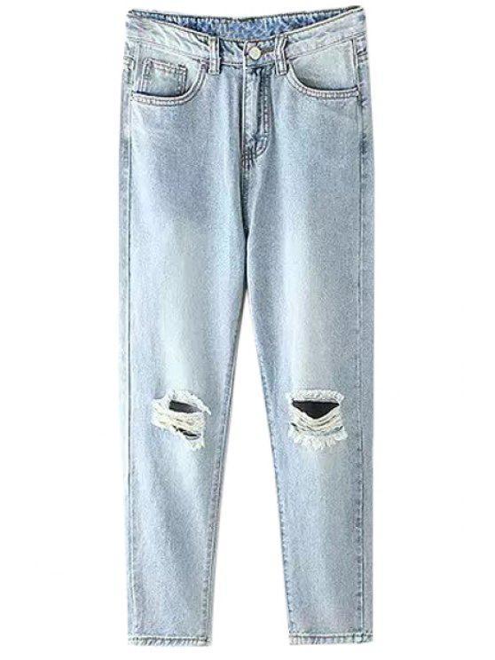 ladies Bleach Wash Broken Hole Light Blue Jeans - LIGHT BLUE L