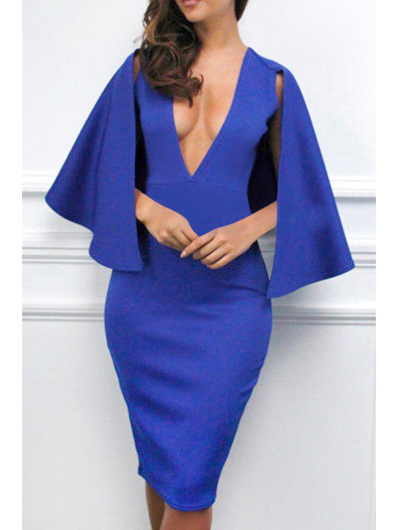 women's Solid Color Plunging Neck Cape Dress - BLUE L
