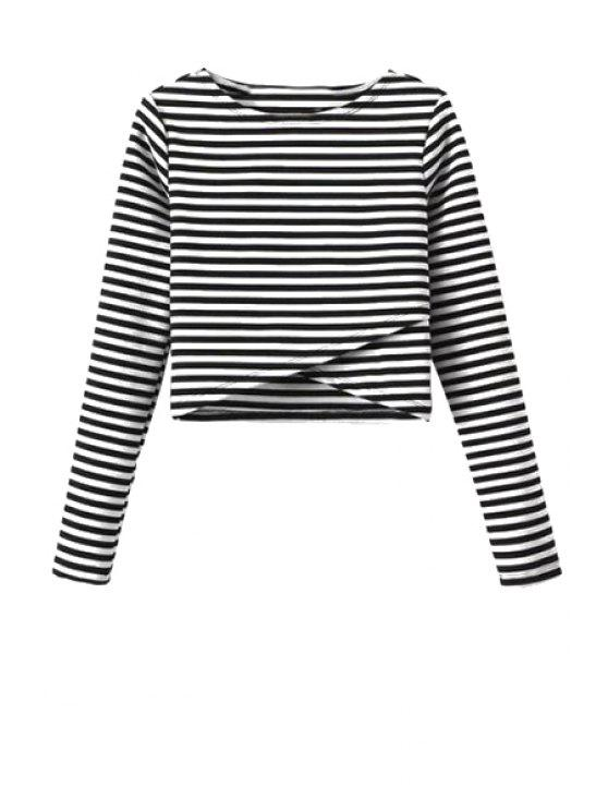 latest Long Sleeve Striped Overlap Crop Top - WHITE AND BLACK L