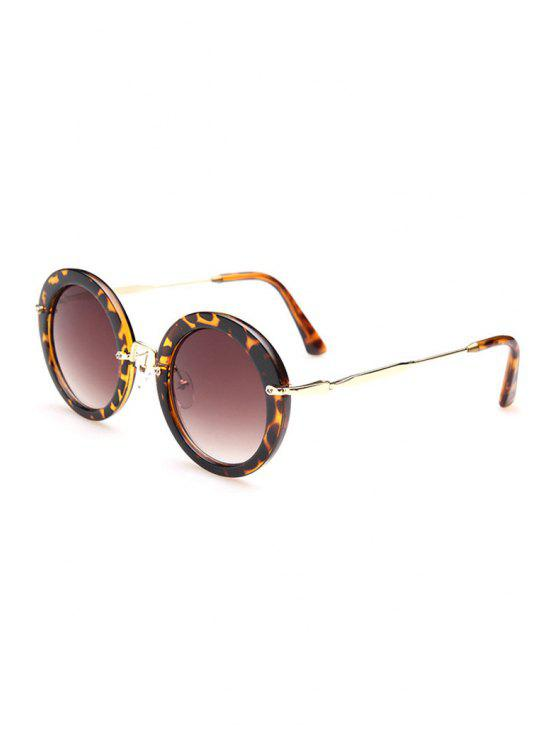 Leopard Pattern Round Sunglasses - Marrón Oscuro