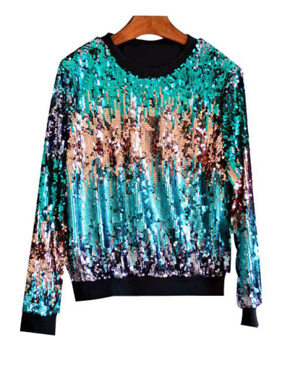 womens Multicolored Sequin Bling Sweatshirt - GREEN ONE SIZE(FIT SIZE XS TO M)