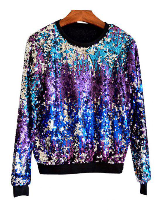 Mehrfarbige Paillette Bling Sweatshirt - Lila Einheitsgröße(Geeign