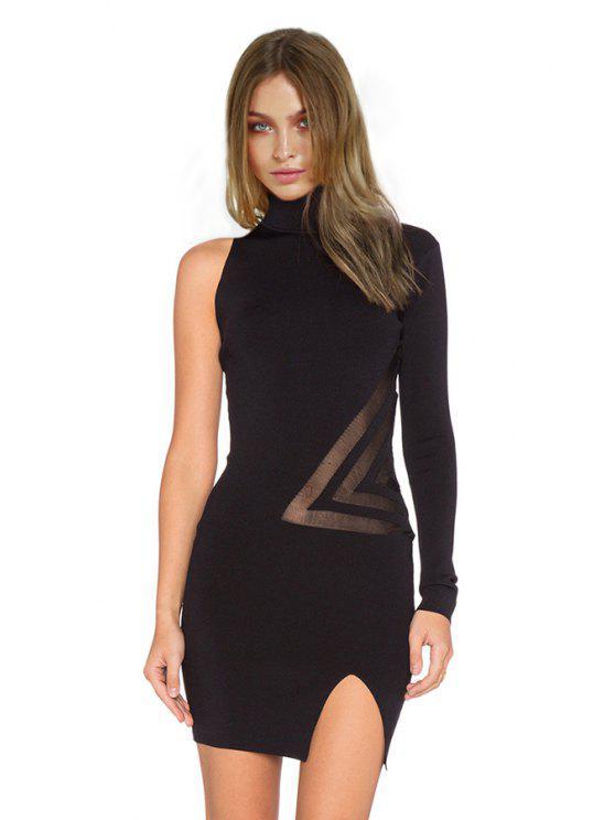 98c50de71b3e 31% OFF] 2019 Bodycon Turtle Neck One Sleeve Dress In BLACK | ZAFUL