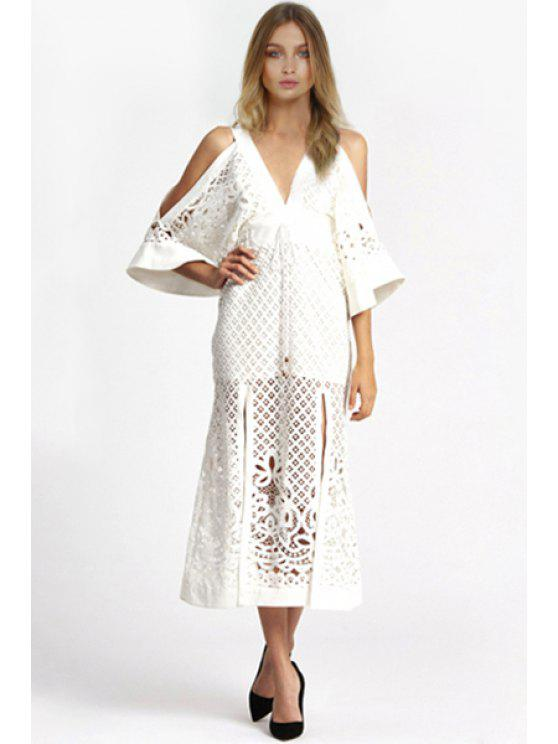 c047925228f 2019 Side Slit Plunging Neck Bell Sleeve Maxi Dress In WHITE S