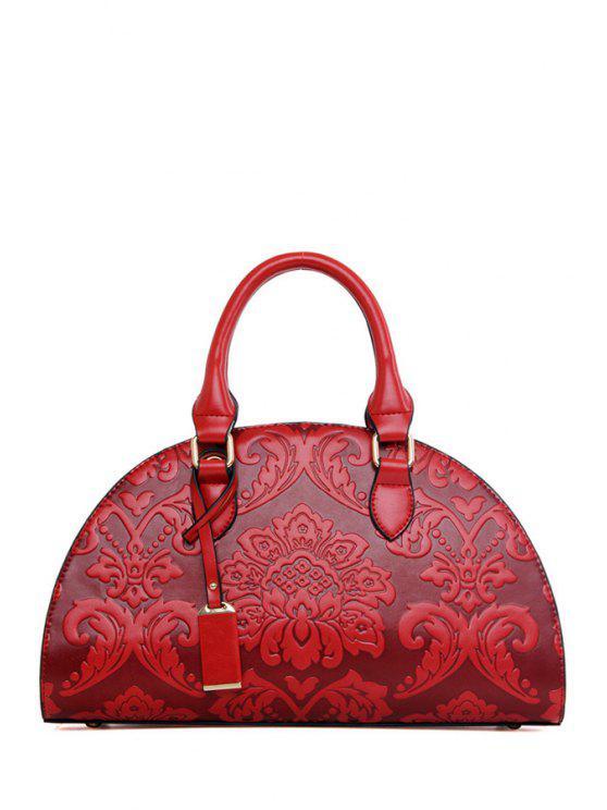 ladies Floral Embossing Pendant Tote Bag - WINE RED