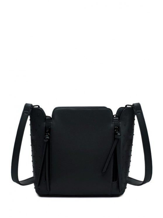 shop Rivets Zips Solid Color Shoulder Bag - BLACK