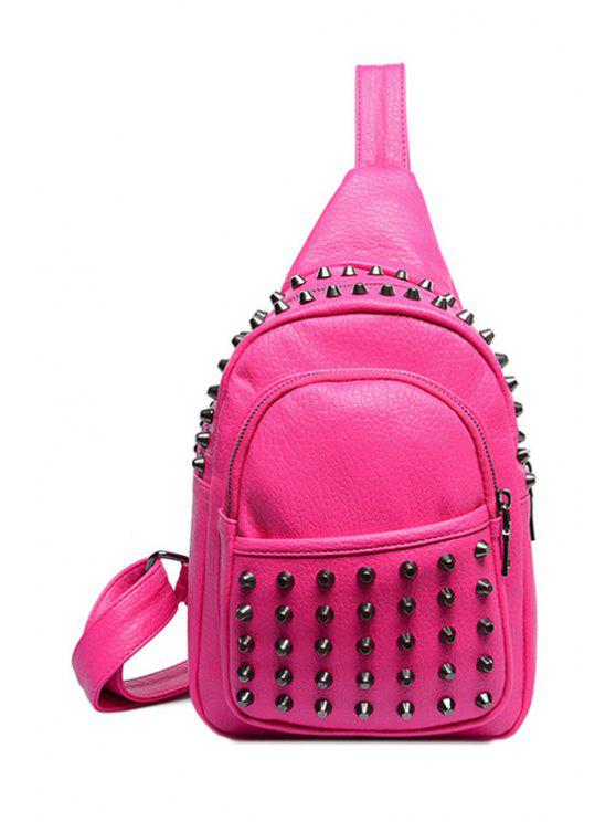 women's Rivets Solid Color PU Leather Crossbody Bag - ROSE