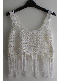 Sleeveless Tassel Crochet Cover-Up - White