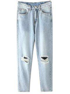 Bleach Wash Broken Hole Light Blue Jeans - Light Blue L