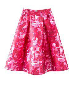 Rose Print Ruffled Midi Skirt - Red M
