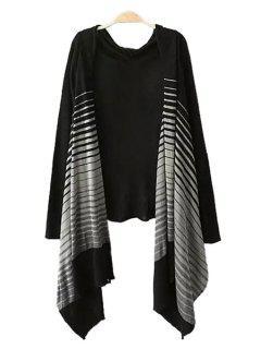 Long Sleeve Striped Irregular Cardigan - Black S