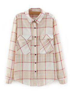 Turn-Down Collar Long Sleeve Plaid Shirt - Khaki M