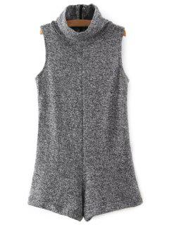 Turtleneck Sleeveless Knitted Gray Playsuit - Gray L
