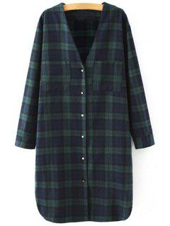 Long Sleeve Plaid Oversized Shirt - Green M