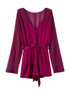 Deep V Neck Long Sleeve Self-Tie Belt Romper - Purple L