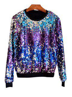 Multicolored Sequin Bling Sweatshirt - Purple
