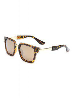 Leopard Pattern Metallic Splice Sunglasses - Deep Brown