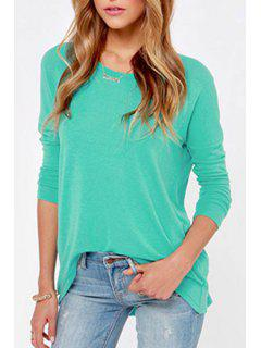 Round Neck Back Slit T-Shirt - Green Xl