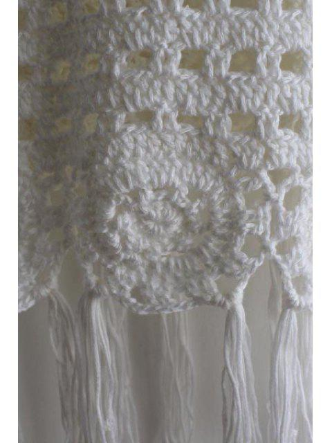 Couverture femme sexy en crochet frangé à col rond sans manches - Blanc Taille Unique(S'adap Mobile