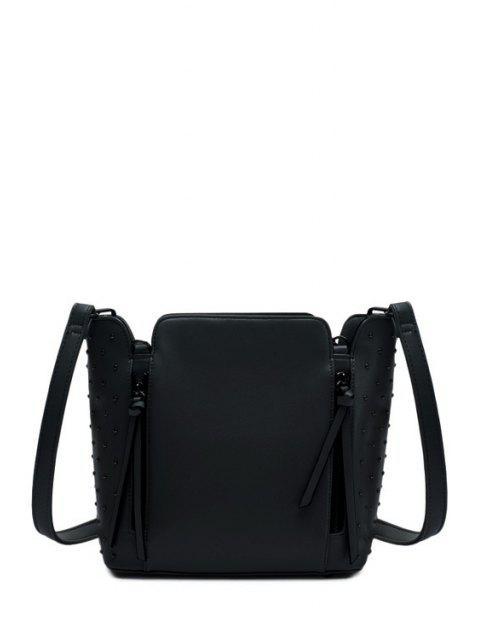 shop Rivets Zips Solid Color Shoulder Bag - BLACK  Mobile
