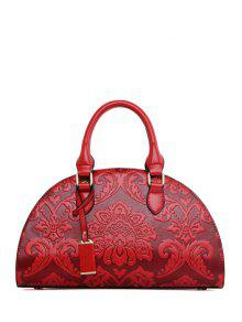 Floral Embossing Pendant Tote Bag - Wine Red