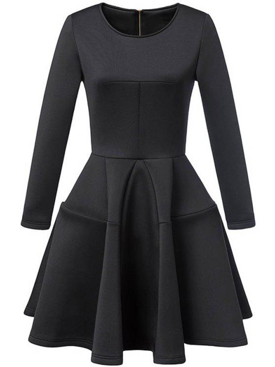 women Waisted Round Collar Long Sleeve Ball Gown Dress - BLACK S