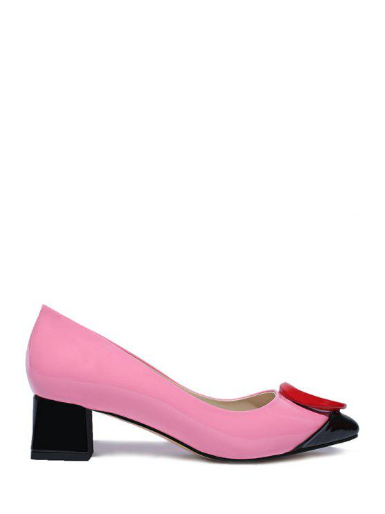 trendy Color Block Round Chunky Heel Pumps - PINK 38