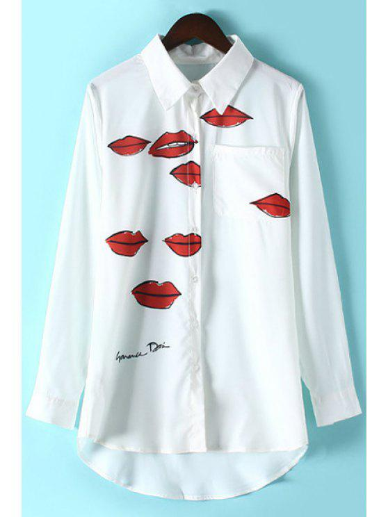 new Lips Print Shirt Collar Long Sleeve Shirt - WHITE M