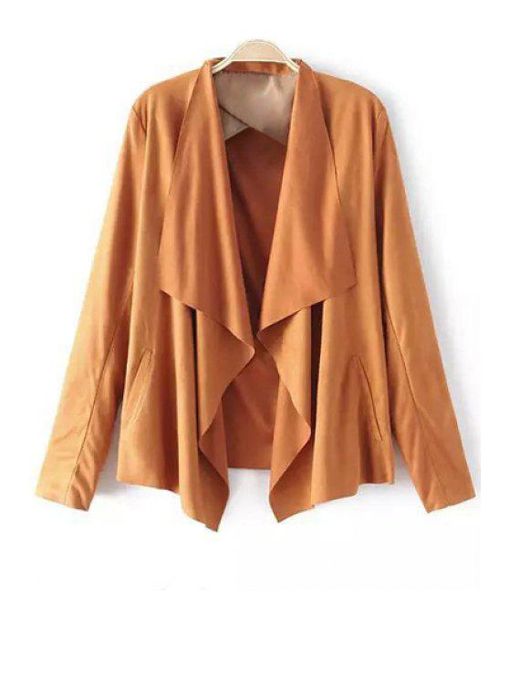 latest Faux Suede Turn Down Collar Long Sleeve Blazer - LIGHT BROWN XL