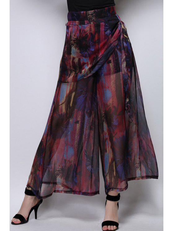 unique Floral Print Chiffon Palazzo Pants - WINE RED XL