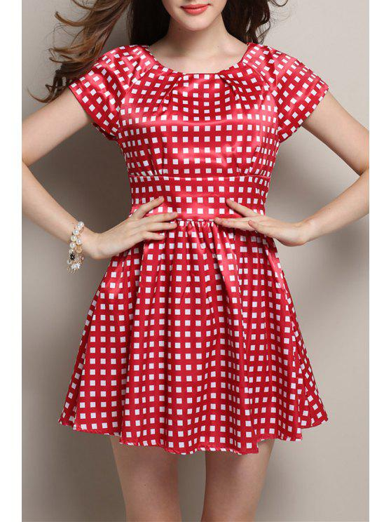 2019 short sleeve plaid summer dress in red xl zaful