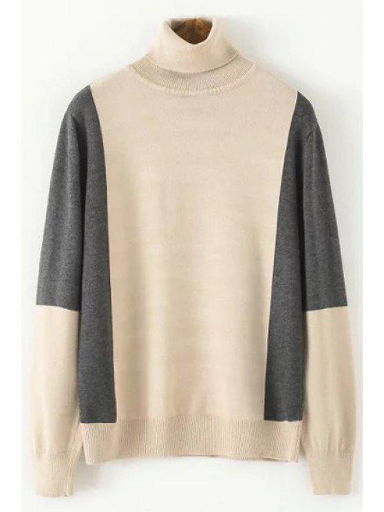 Farbe Block  Langarm Pullover mit Rollkragen - Helles Khaki Einheitsgröße(Geeign