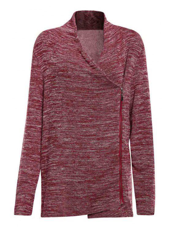 chic Cowl Neck Zippered Purple T-Shirt - PURPLE L