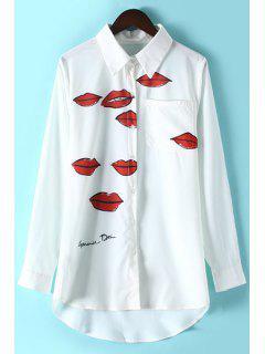 Lips Print Shirt Collar Long Sleeve Shirt - White L