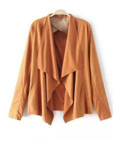 Faux Suede Turn Down Collar Long Sleeve Blazer - Light Brown Xl